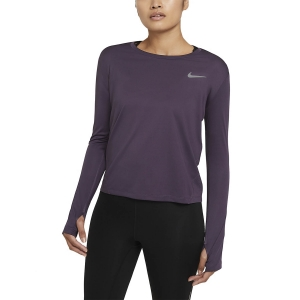 Women's Running Shirt Nike Miler Shirt  Dark Raisin/Reflective Silver AJ8128573