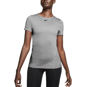 Maglietta Fitness e Training Donna Nike Pro Maglietta  Smoke Grey/Black AO9951084
