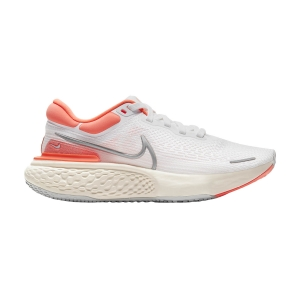 Zapatillas Running Neutras Mujer Nike ZoomX Invincible Run Flyknit  White/Metallic Silver/Bright Mango CT2229100