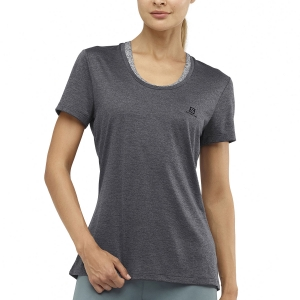 Women's Running T-Shirts Salomon Agile TShirt  Dark Grey/Sag Heather LC1280200