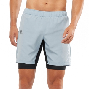 Men's Running Short Salomon XA Twinskin 2 in 1 8in Shorts  Ashley Blue LC1495100