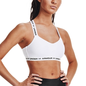 Women's Sports Bra Under Armour Crossback Low Sports Bra  White/Black 13610330100