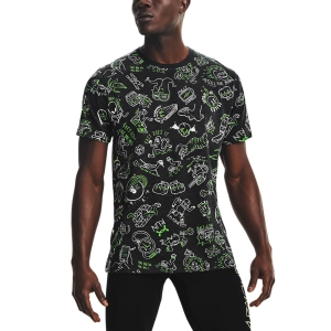 Men's Running T-Shirt Under Armour Face Off TShirt  Black/Hyper Green/White 13614840001