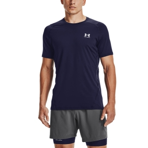 Camisetas Fitness y Training Hombre Under Armour HeatGear Knit Camiseta  Midnight Navy/White 13616830410