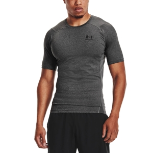 Men's Fitness & Training T-Shirt Under Armour HeatGear Compression Logo TShirt  Carbon Heather/Black 13615180090