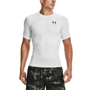 Men's Fitness & Training T-Shirt Under Armour HeatGear Compression Logo TShirt  White/Black 13615180100
