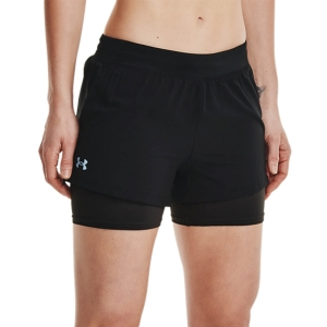 Pantaloncini Running Donna Under Armour IsoChill 2 in 1 3in Pantaloncini  Black/Reflective 13615820001
