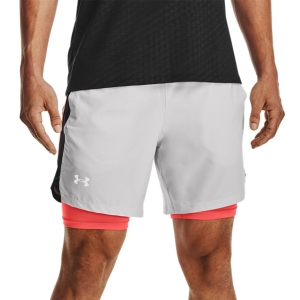 Pantalones cortos Running Hombre Under Armour Launch 2 in 1 7in Shorts  Halo Gray/Black/Reflective 13614970014