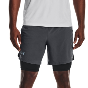 Pantalones cortos Running Hombre Under Armour Launch 2 in 1 7in Shorts  Pitch Gray/Black/Reflective 13614970012