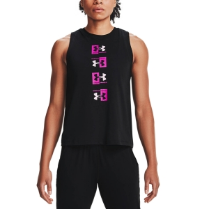 Canotta Fitness e Training Donna Under Armour Repeat Muscle Canotta  Black/Meteor Pink/Stellar Pink 13608360001