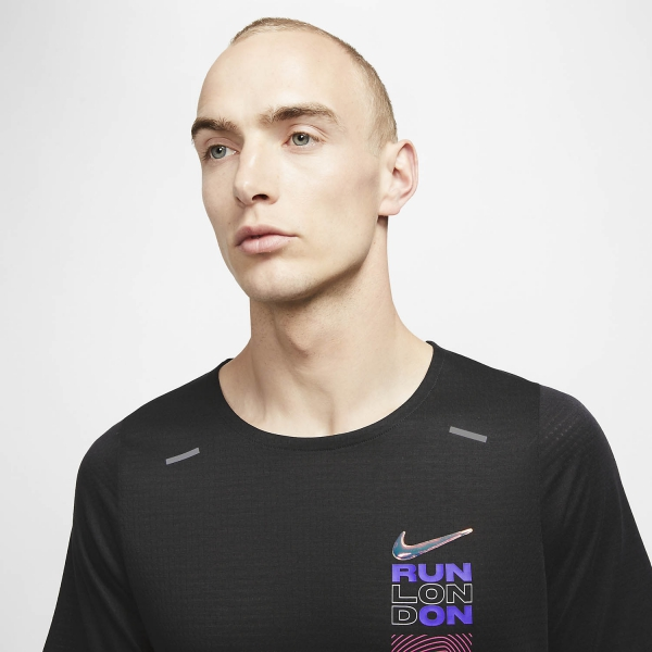 Nike London Rise 365 Maglietta BlackReflective Silver