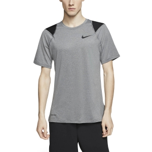 Nike Pro Logo Camiseta - Smoke Grey/Heather/Black