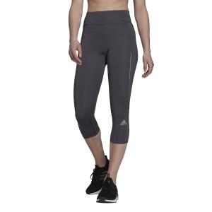 adidas Own The Run 3/4 Logo Tights - Grey Six