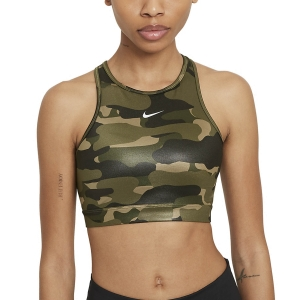 Nike Dri-FIT Swoosh Camo Reggiseno Sportivo - Medium Olive/Black/White