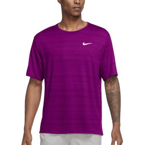 Nike Miler Wild Run Classic T-Shirt - Red Plum/Reflective Silver