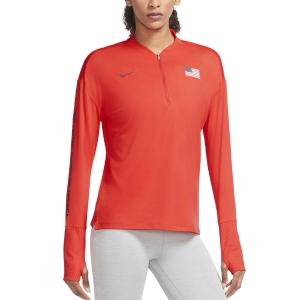 Nike Usa Element Half-Zip Camisa - Chile Red/Black