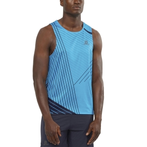 Men's Running Sleeveless Salomon Sense Aero Tank  Hawaiian Ocean/Night Sky LC1510800