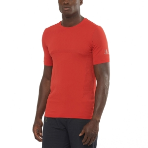 Men's Running T-Shirt Salomon Sense Seamless TShirt  Goji Berry LC1499200