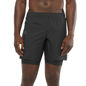 Men's Running Short Salomon XA Twinskin 2 in 1 8in Shorts  Black LC1494800