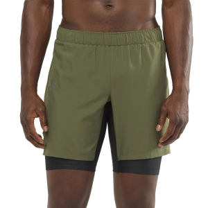 Men's Running Short Salomon XA Twinskin 2 in 1 8in Shorts  Olive Night LC1494900