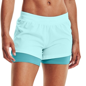 Women's Running Shorts Under Armour IsoChill 2 in 1 3in Shorts  Breeze/Cosmos/Reflective 13615820441